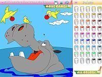 Kid's coloring: The delicacy for hippo